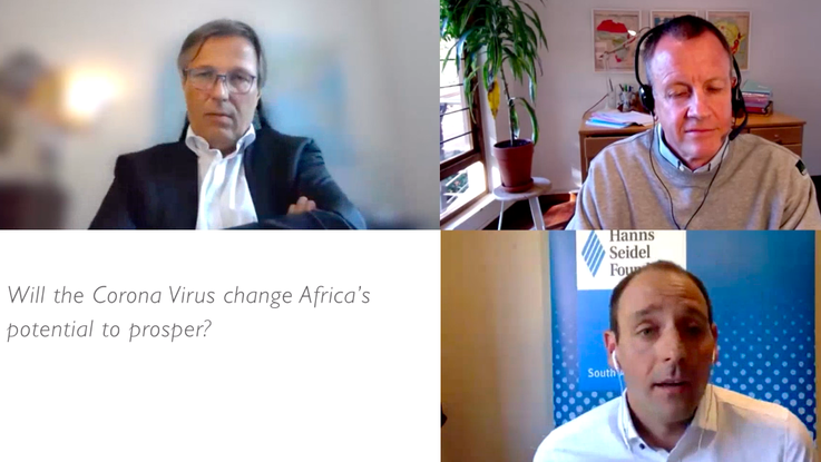 """Dr Stefan Mair, member of the board of the Federation of German Industries (BDI), Dr Jakkie Cilliers, Author of """"Africa First"""" and Hanns Bühler, Regional Representative of the HSF in Southern Africa"""