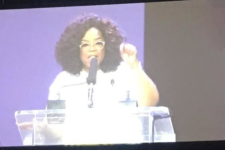 Oprah Winfrey during her powerful, inspiring speech
