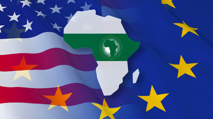 Flags of EU and US with map of Africa and AU flag