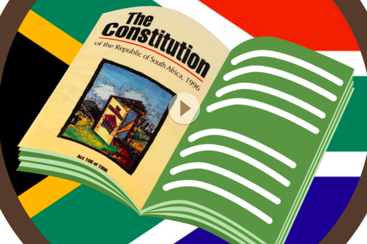 Cover frame of the Bill of Rights video, with the South African Flag