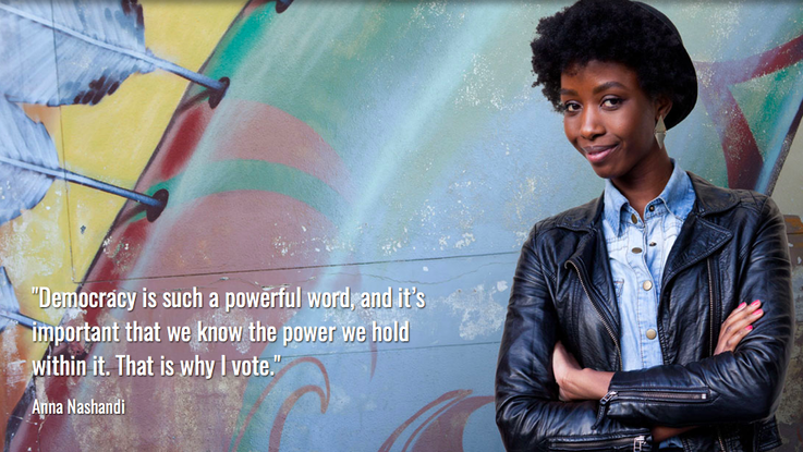 Young woman image: The HSF's Civics Academy offers educational videos and podcasts online