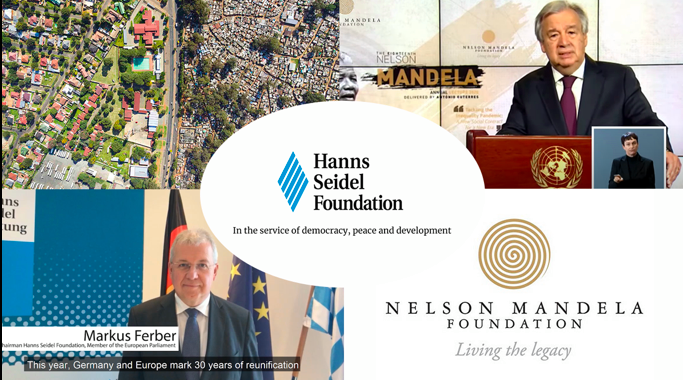 A collage reflecting HSF support for the Nelson Mandela Annual Lecture 2020