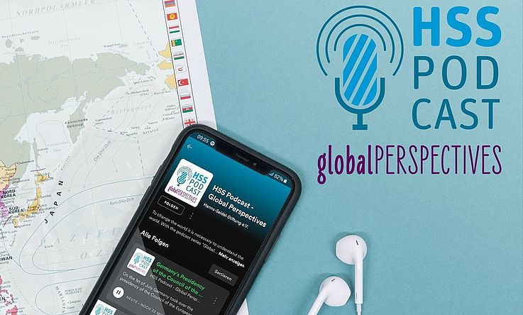 Earphones and a map:Global Perspectives - a new podcast series by the Hanns Seidel Foundation