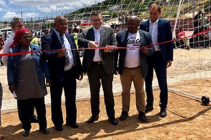 Opening the new soccer pitch in Khayelitsha