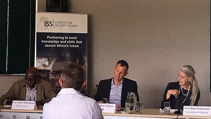 The panel: respondent, Professor Gilbert Khadiagala, author Dr Jakkie Cilliers and chair Prof. Maxi Schoeman
